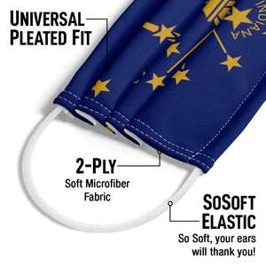 Load image into Gallery viewer, Indiana Flag Adult Universal Pleated Fit, 2-Ply, SoSoft Elastic Earloops