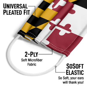 Maryland Flag Adult Universal Pleated Fit, 2-Ply, SoSoft Elastic Earloops