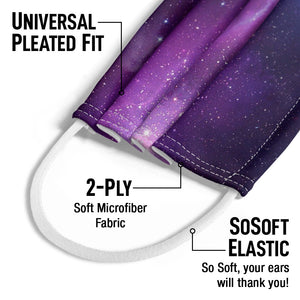 Load image into Gallery viewer, Space Purple Nebula Kids Universal Pleated Fit, 2-Ply, SoSoft Elastic Earloops