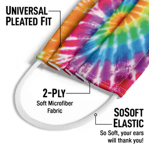 Tie Dye Spiral Kids Universal Pleated Fit, 2-Ply, SoSoft Elastic Earloops