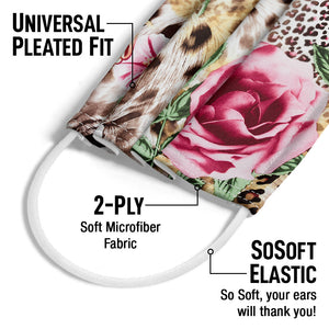 Floral Rose Flowers Leopard Print Adult Universal Pleated Fit, 2-Ply, SoSoft Elastic Earloops