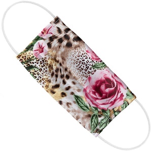 Floral Rose Flowers Leopard Print Adult Flat View