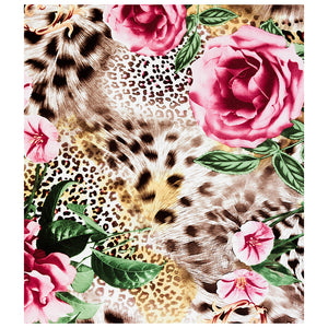 Load image into Gallery viewer, Floral Rose Flowers Leopard Print Kids Mask Design Full View
