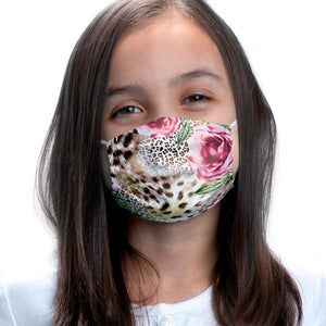 Floral Rose Flowers Leopard Print Kids Main Model View