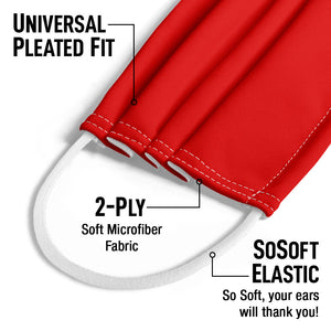 Solid Rainbow Red Kids Universal Pleated Fit, 2-Ply, SoSoft Elastic Earloops