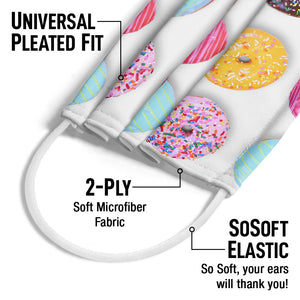 Colorful Donut Pattern Adult Universal Pleated Fit, 2-Ply, SoSoft Elastic Earloops