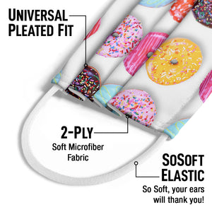 Colorful Donut Pattern Kids Universal Pleated Fit, 2-Ply, SoSoft Elastic Earloops