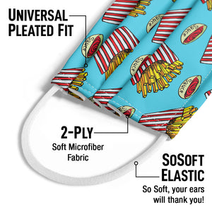 Load image into Gallery viewer, Large Order of French Fries Pattern Kids Universal Pleated Fit, 2-Ply, SoSoft Elastic Earloops