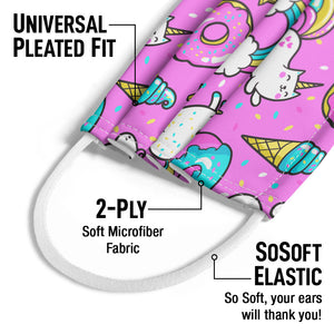 Donuts Rainbows and Unicorns Pattern Kids Universal Pleated Fit, 2-Ply, SoSoft Elastic Earloops