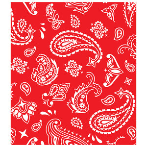 Red Paisley Kids Mask Design Full View