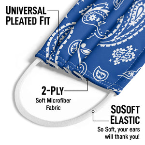 Blue Paisley Kids Universal Pleated Fit, 2-Ply, SoSoft Elastic Earloops