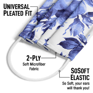 Blue Floral Pattern Adult Universal Pleated Fit, 2-Ply, SoSoft Elastic Earloops