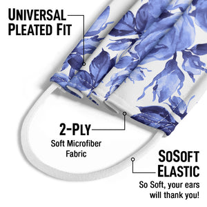 Blue Floral Pattern Kids Universal Pleated Fit, 2-Ply, SoSoft Elastic Earloops
