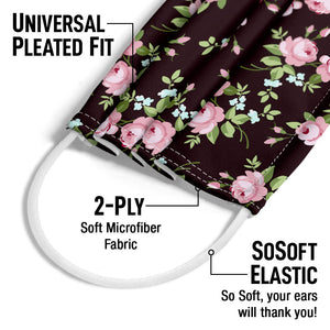 Small Pink Flowers Pattern Adult Universal Pleated Fit, 2-Ply, SoSoft Elastic Earloops