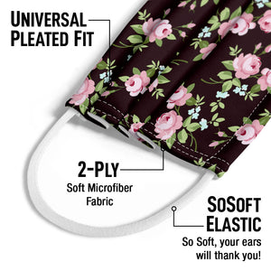 Small Pink Flowers Pattern Kids Universal Pleated Fit, 2-Ply, SoSoft Elastic Earloops