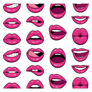 Lip Expressions Pattern Adult Mask Design Full View