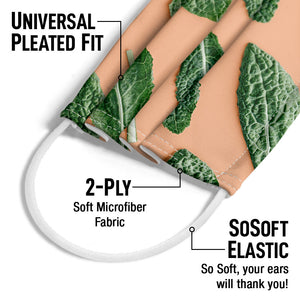 Organic Kale Leaves Pattern Adult Universal Pleated Fit, 2-Ply, SoSoft Elastic Earloops