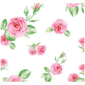 Pink Roses Flowers on White Pattern Adult Mask Design Full View