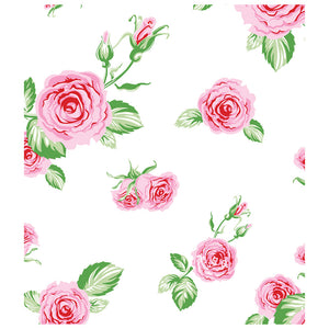 Pink Roses Flowers on White Pattern Kids Mask Design Full View