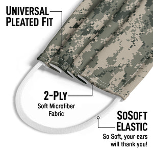 Digtal Camouflage Pattern Kids Universal Pleated Fit, 2-Ply, SoSoft Elastic Earloops