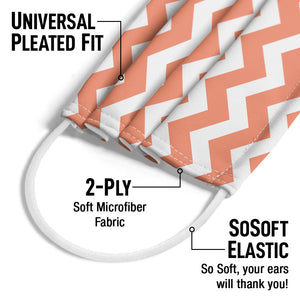 Coral Chevron Pattern Adult Universal Pleated Fit, 2-Ply, SoSoft Elastic Earloops