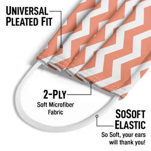 Coral Chevron Pattern Kids Universal Pleated Fit, 2-Ply, SoSoft Elastic Earloops