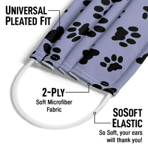 Cat Paws Print Pattern Adult Universal Pleated Fit, 2-Ply, SoSoft Elastic Earloops