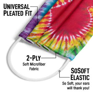 Tie Dye Heart Adult Universal Pleated Fit, 2-Ply, SoSoft Elastic Earloops