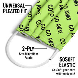 Go Away Pattern Green Adult Universal Pleated Fit, 2-Ply, SoSoft Elastic Earloops