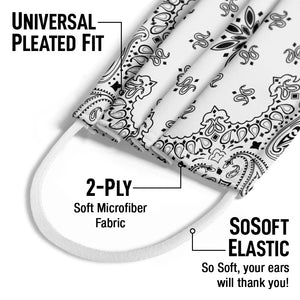 Paisley White Kids Universal Pleated Fit, 2-Ply, SoSoft Elastic Earloops