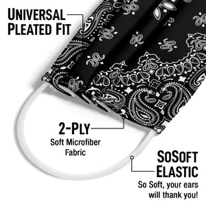 Load image into Gallery viewer, Paisley Black Adult Universal Pleated Fit, 2-Ply, SoSoft Elastic Earloops