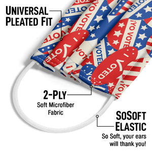 I voted Stickers Pattern Adult Universal Pleated Fit, 2-Ply, SoSoft Elastic Earloops
