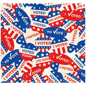 I voted Stickers Pattern Adult Mask Design Full View