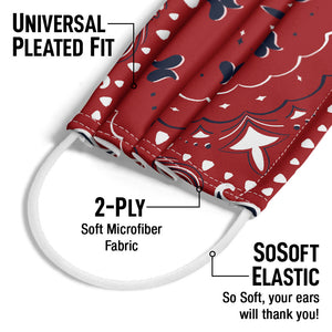 Red Paisley 3 Adult Universal Pleated Fit, 2-Ply, SoSoft Elastic Earloops