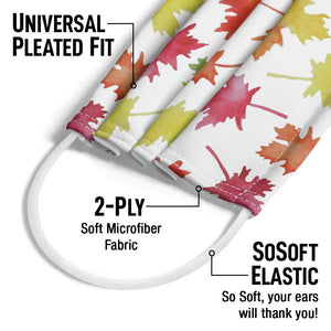 Watercolor Leaf Pattern Adult Universal Pleated Fit, 2-Ply, SoSoft Elastic Earloops