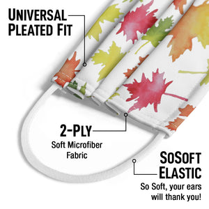 Watercolor Leaf Pattern Kids Universal Pleated Fit, 2-Ply, SoSoft Elastic Earloops