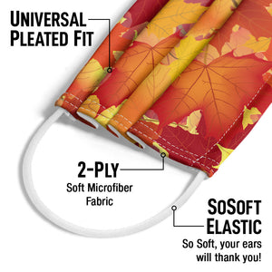 Fall Maple Leaf Pattern Adult Universal Pleated Fit, 2-Ply, SoSoft Elastic Earloops