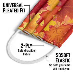 Fall Maple Leaf Pattern Kids Universal Pleated Fit, 2-Ply, SoSoft Elastic Earloops