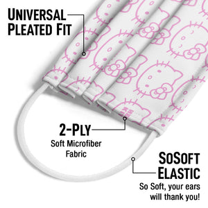 Hello Kitty Expressions Pattern Adult Universal Pleated Fit, 2-Ply, SoSoft Elastic Earloops