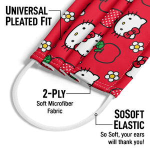 Hello Kitty and Apples Pattern Adult Universal Pleated Fit, 2-Ply, SoSoft Elastic Earloops