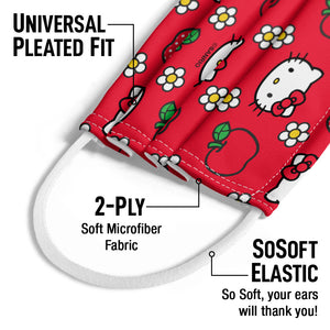 Hello Kitty and Apples Pattern Kids Universal Pleated Fit, 2-Ply, SoSoft Elastic Earloops