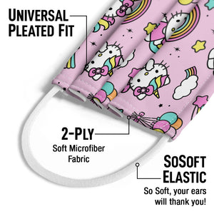 Hello Kitty Unicorn Pattern Kids Universal Pleated Fit, 2-Ply, SoSoft Elastic Earloops