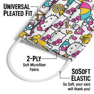 Hello Kitty Pink Pattern Adult Universal Pleated Fit, 2-Ply, SoSoft Elastic Earloops