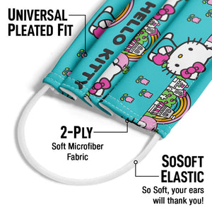 Hello Kitty Rainbow Pattern Adult Universal Pleated Fit, 2-Ply, SoSoft Elastic Earloops