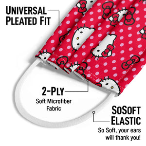Hello Kitty Red and Pink Polka Dot Pattern Kids Universal Pleated Fit, 2-Ply, SoSoft Elastic Earloops