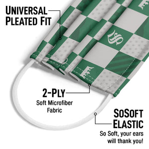 Harry Potter Slytherin Checkerboard House Pattern Adult Universal Pleated Fit, 2-Ply, SoSoft Elastic Earloops