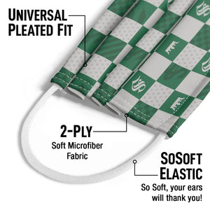 Harry Potter Slytherin Checkerboard House Pattern Kids Universal Pleated Fit, 2-Ply, SoSoft Elastic Earloops