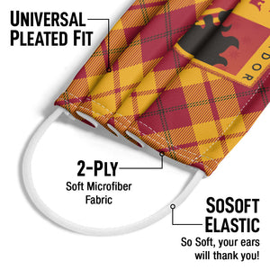 Harry Potter Gryffindor Plaid Logo Adult Universal Pleated Fit, 2-Ply, SoSoft Elastic Earloops