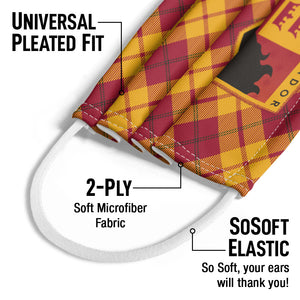 Harry Potter Gryffindor Plaid Logo Kids Universal Pleated Fit, 2-Ply, SoSoft Elastic Earloops