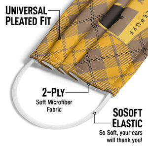 Harry Potter Hufflepuff Plaid Logo Adult Universal Pleated Fit, 2-Ply, SoSoft Elastic Earloops